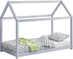 Licht-grijze En.casa Kinderbed Netstal houten bed huisbed 70x140 cm lichtgrijs
