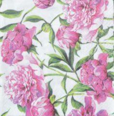 Roze Tete à Tete Pink Peonies papieren servetten 33 x 33 cm, 3-laags