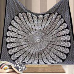 Ulticool - Mandala Zwart Wit Hippie Bohemian - Wandkleed - 200x150 cm - Groot wandtapijt - Poster