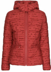 Desigual gewatteerde jas met tekst rood/zwart