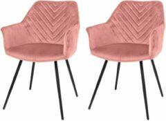 Riverdale NL Eetkamerstoel Lindy roze 80cm set (2 stuks)