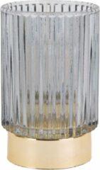 Pt, Ribbed - Waxinelichthouder - Glas - 13x8,5cm - Grijs