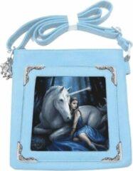 Lichtblauwe Anne Stokes The World of 3D Anne Stokes schoudertas met 3D afbeelding Blue moon unicorn
