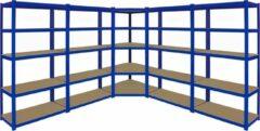 Blauwe Monster Racking Hoekstelling - 6925kg - MDF planken - 1x Hoekkast en 4x stelling 90cm (w) x 180cm (h) x 45cm (d)