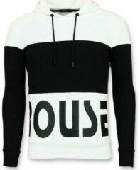 Witte Enos Hoodie Heren Slim Fit - Striped Sweater Black and White - Zwart Hoodies Heren Sweater Maat XL