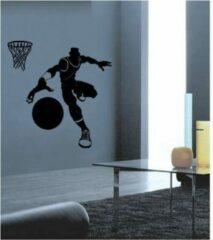 Coart by Artikel Coart Muursticker Basketballer 2 - zwart - zelfklevend velours - 117 x 117 cm