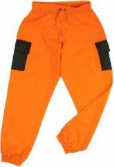 Merkloos / Sans marque La Pèra Oranje cargobroek met zwarte zakken Stoere fashion broek met elastische band - Maat S