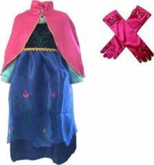 Blauwe Het Betere Merk Prinses Anna verkleed jurk roze cape maat 128/134 (labelmaat 140) + roze lange handschoenen