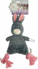 Bunny Puppy Crunchy Rope - Hondenspeelgoed - 41x13x5 cm Grijs Roze