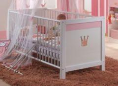 Babybett 70 x 140 cm alpinweiss/ rosa Wimex Cinderella