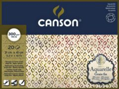 Witte Aquarelblok Canson 31x41cm 20V 300gr fijn gelijmd