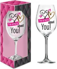 Transparante Ingifts XXL wijn glas I'm crazy about you