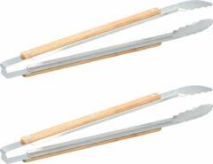 Zilveren 2x Barbecue/bbq tangen Jamie Oliver 46 cm keuken benodigdheden - Met houten grijpers - Slatang/slabestek - Barbecue benodigdheden