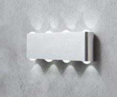 DeLife Wandleuchte Garu Aluminium Gebürstet Silber 8 Watt LED Wandleuchte