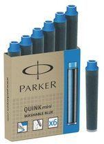 Doos met 6 korte navullingen voor vulpen van Parker blauw