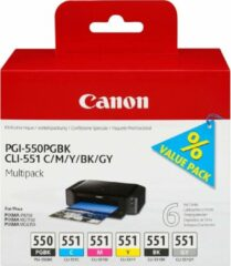 Canon Cartridge PGI-550PGBK/CLI-551 Multipack Origineel Combipack Foto zwart, Cyaan, Magenta, Geel, Zwart, Grijs 6496B005 Cartridge multipack