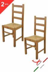 T m c s Tommychairs - Set van 2 stoelen model Rustica. Zeer geschikt voor keuken, eetkamer, maar ook voor de horeca. Houten frame, kleur eikenhout, biezen stro-zitting