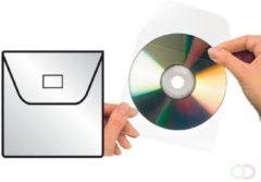 Cd/dvd Hoes 3L 127x127mm met klep zelfklevend transparant
