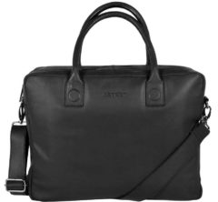 Zwarte DSTRCT DSTRCT Fletcher Street Leren Business Laptoptas 15,6 inch Black