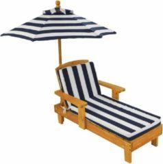 KidKraft Chaise Longue voor buiten met parasol - marineblauw