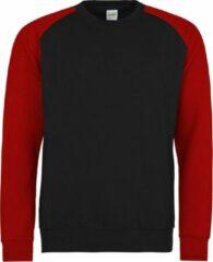 Rode AWDis Just Hoods Baseball sweatshirt, Kleur Jet Black/ Fire Red, Maat XL
