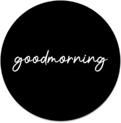 Beige Label2X Muurcirkel klein goodmorning black - Ø 30 cm - Forex (binnen)