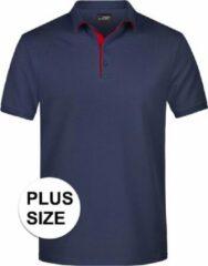 James & Nicholson Grote maten polo shirt Golf Pro premium navy/rood voor heren - Navy blauwe plus size herenkleding - Werk/zakelijke polo t-shirts 3XL