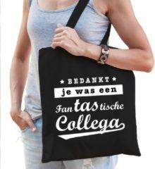 Bellatio Decorations Cadeau Tas Zwart Katoen Met De Tekst Fantastische Collega - Kadotasje / Shopper Voor Collega Dames
