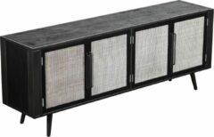 Hioshop NordicMindiRattan TV-meubel met 4 deuren, zwart.