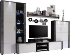 Trendteam Anbauwand Xpress + Beleuchtung Esche Grau weiß Wohnwand Wohnzimmer Schrank
