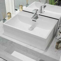 VidaXL Wastafel met kraangat wit 51,5x38,5x15 cm keramiek