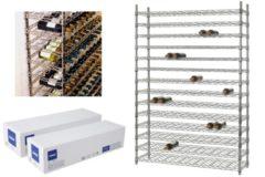 Horeca products | Linum Opslagrek 14 niveaus - 168 flessen verchroomd - 1220x360x h1820 mm