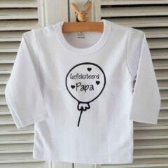 Witte Merkloos / Sans marque Shirt gefeliciteerd papa Tekst eerste vaderdag liefste papa cadeau Baby T-shirt Maat 86