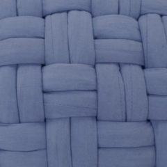 VidaXL Poef gevlochten ontwerp 50x35 cm katoen blauw
