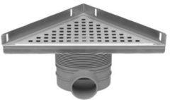 Easy Drain Aqua Plus Delta hoekafvoergoot 245x245x342 mm zijuitlaat, geborsteld rvs