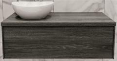 Boss & Wessing Badkamermeubel BWS Madrid Washed Oak 100 cm met Massief Topblad en Keramische Waskom Links (1 kraangat)