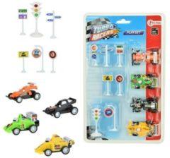Toi Toys Raceauto's 4 stuks met verkeersborden
