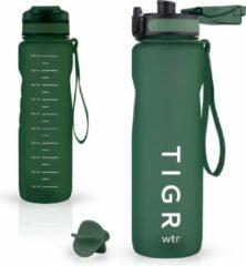 TIGR Grote drinkfles met fruitfilter - 1000ML - Sportfles - Gratis mengbal voor eiwitshakes - Groen