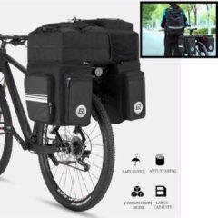 Zwarte Decopatent® XL Dubbele Fietstassen - 3 in 1 - Waterdicht met Regenhoes - Fietstas bagagetassen - Fietsbepakking op bagagedrager