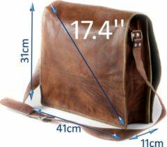 Merkloos / Sans marque Aktetas 17 inch Bruin Echt Leer -- Schoudertas - Aktetas A3 - Almeria R17 – Handgemaakte Tas van echte leder