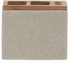 Zandkleurige Sealskin Grace tandenborstelhouder 12.3x10.2x6cm vrijstaand rechthoek Polyresin with Bamboo Zand 361910365