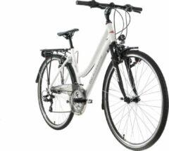 """Ks Cycling Fiets Trekkingfiets dames 28 """"Canterbury 21 versnellingen wit toerstuur"""