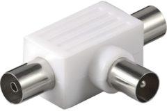 Goobay Adapter Koaxial-Verteiler 2x Kupplung auf Stecker Goobay Weiß