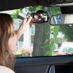 Zwarte Merkloos / Sans marque ISI MINI - achteruitkijk spiegel - Model: Travelserie baby - met zuignap