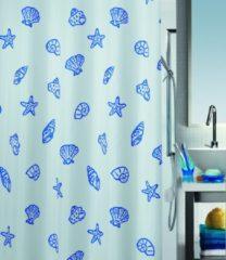Blauwe Spirella Concha - Douchegordijn - Blauw - Polyester - 200 x 180 cm