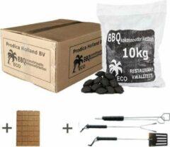 Prodica Holland Kokosbriketten 10kg met gratis aanmaakblokjes en gratis BBQ gereedschapset/3 - kokosbriketten aanbieding