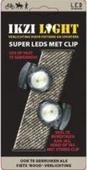 Antraciet-grijze Ikzi Light Clip Led Set - Fietsverlichtingset - LED - Batterij - Antraciet