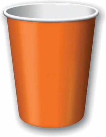 Afbeelding van Merkloos / Sans marque 40x Oranje papieren feest bekertjes 256 ml - Wegwerpbekertjes oranje van papier - Halloween/themafeest tafeldecoratie40x Oranje papieren feest bekertjes 256 ml - Wegwerpbekertjes zwart van papier - EK/WK/Koningsdag tafeldecoratie