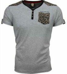David Copper T-shirt - Tijger Print Motief - Grijs T-shirt - Tijger Print Motief - Grijs Heren T-shirt Maat XL