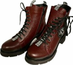 Bordeauxrode La Pèra Leren Veter Boots Cassido Enkellaarsjes Bordeaux Dames - Maat 39